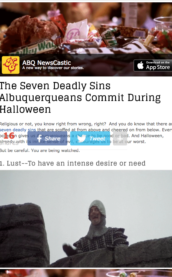 The Seven Deadly Sins Albuquerqueans Commit During Halloween